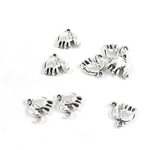 540 piezas de abalorios de plata envejecida Y2IK3Y para manualidades con elefantes