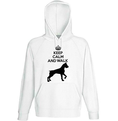 teesquare1st Men's Boxer 2 - Keep Calm And Walk White Hoodie Size Medium