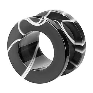 Piercingfaktor Flesh Tunnel Kuststoff Ohr Plug Schraub Piercing Ohrpiercing Tribal Schraubverschluss Black White Marmor Schwarz Weiß 6mm