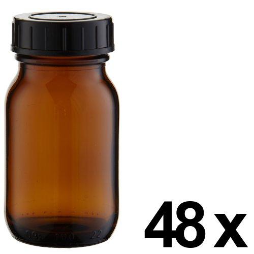 48 x Weithalsflasche 100ml Braunglas inkl. Schraubverschluss mit Dichtungsscheibe *** Weithalsflaschen, Schraubgläser, Weithalsgläser, Braunglasflaschen, Glasdosen, Allzweckgläser, Haushaltsgläser, Weithalsglas, Schraubglas, Allzweckglas, Haushaltsglas ***