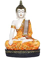 JaipurCrafts Polyresin Sitting Buddha Idol (Orange and Whit