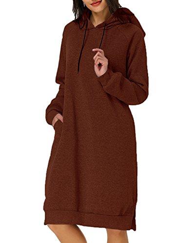 Kidsform Damen Kapuzenpullover Pullover Hoodie Lange Tops Langarm Sweatshirt Casual Täglich Herbst Pulli Kleider Sweatjacke JumperBraun EU 44/Etikettgröße XL