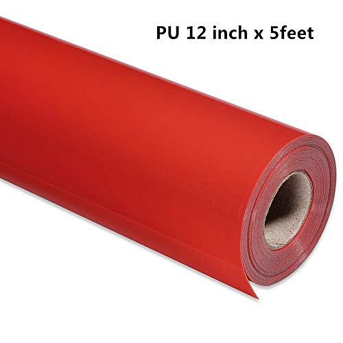 PU-Wärmetransfer-Vinyl-Rolle, 30,5 x 1,5 m, für T-Shirts und andere Stoffe, einfach zu schneiden, Unkraut- und Pressen-Flyusy rot