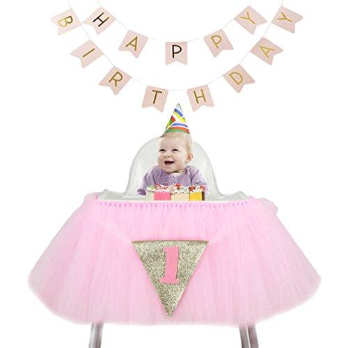 Ketamyy Babys Erste Geburtstagsfeier Esszimmerstuhl Röcke Mit Wabenball Alles Gute Zum Geburtstag Banner Weihnachtsschmuck Stellen Sie EIN 3# Hellrosa 100cm*35cm