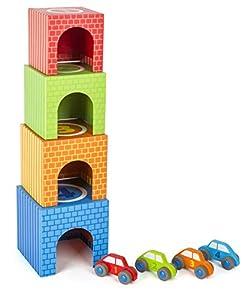 small foot company-Cubos para apilar Small Foot, Juguetes con estimulación para la motricidad, con 4 Coches Diferentes, Hechos de Madera, Multicolor by Legler 11083