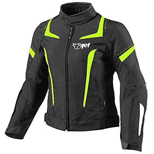 jet giacca moto donna con protezioni 4 stagioni cordura impermiabile tessile elektra (s (it 40-42), fluro)