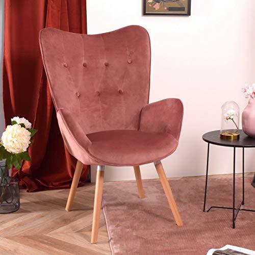 Furnish1 - elegante poltrona per sala da pranzo in velluto a schienale medio con braccioli, poltrona per il tempo libero moderna, poltrona imbottita con zampe di imbottitura, colore: rosa