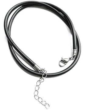 Gummihalsband 3mm Durchmesser, Halskette, Gummi-Silikonband mit rostfreiem Karabinerverschluß aus Edelstahl, GHB...
