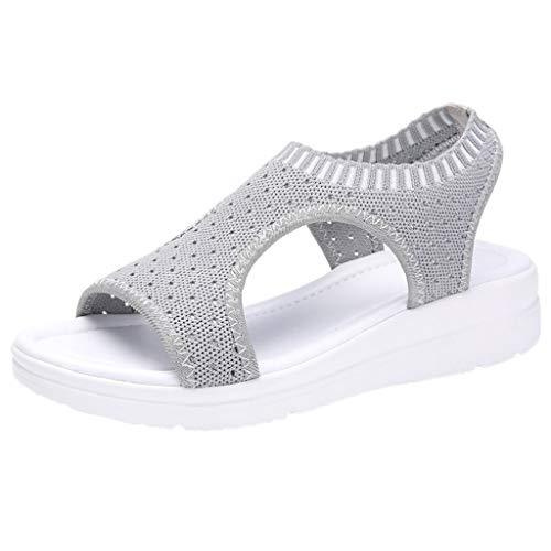B-commerce Frauen Baumwollgewebe Mesh Sandalen - Damen Atmungsaktiv Komfort Aushöhlen Lässige Wedges Tuch Schuhe Freizeit Peep Toe Sandalen -