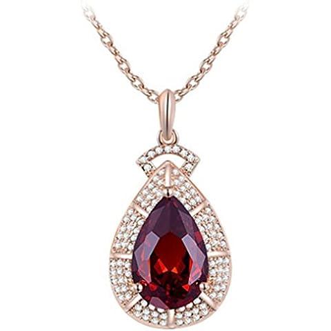 Da donna 5.05cm 18placcato oro con cristallo rosso a goccia ciondolo collana