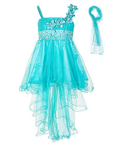 s Mädchen Kleid mit Stola Strass Perlen Blumen Prinzessinnenkleid M534gn Grün 152 ()