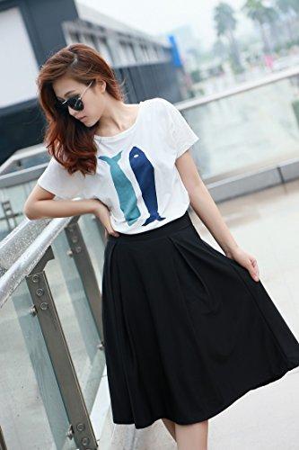 Allegra K - Jupe Elégante Pour Femmes Taille Mi-haute - Style Avec Des Plis Solid Black