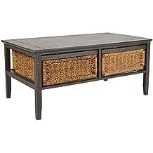 ts-ideen Tavolino da salotto 107x60 cm in legno grigio Shabby Style con 2 cestoni interni