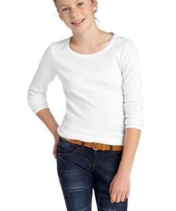 ESPRIT Mädchen Langarmshirt J02E97, Gr. 152 (M), Weiß (100 white)