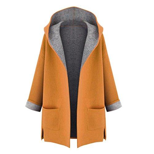 Sannysis Frauen Warm Winter Kapuzen Mantel Jacke Parka Mantel Lang Trench Cardigan Outwear (XXXL, Gelb) (Voll Mens Hose Gestickte)