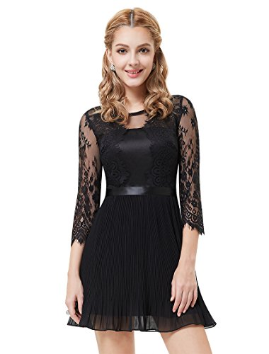 Ever Pretty Damen 3/4 LACE Sleeve Kurz Schwarz Cocktail Party Kleid 05249 Schwarz - Schwarz
