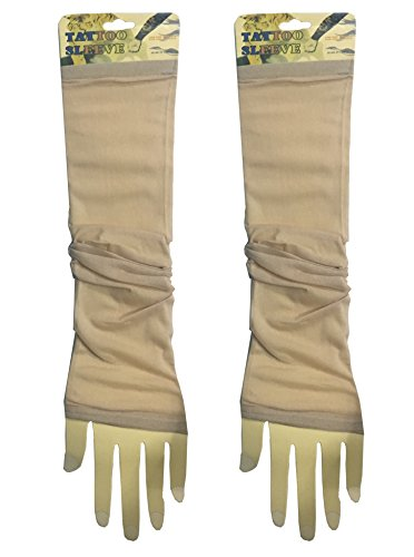 1 Pair - Wearable Tattoo Arm sleeves Skin Cover for Sun protection(Beige Color)  available at amazon for Rs.149