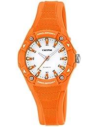 Calypso Reloj unisex de cuarzo con correa de plástico en color blanco esfera analógica pantalla y naranja K5675/6