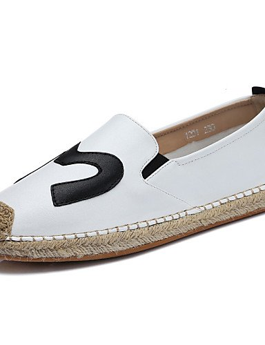 ZQ gyht Scarpe Donna - Mocassini - Ufficio e lavoro / Casual / Formale - Comoda - Piatto - Finta pelle - Nero / Bianco , white-us8.5 / eu39 / uk6.5 / cn40 , white-us8.5 / eu39 / uk6.5 / cn40 black-us6 / eu36 / uk4 / cn36