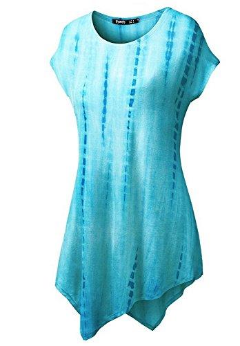 belego femmes unique du Drap-housse confortable longue tunique Tops ourlet Mouchoir slim T-shirt à manches courtes pour femme Bleu - Bleu