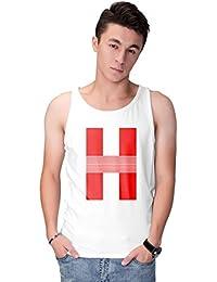 Haoser Men's White Cotton Graphic Printed Vest