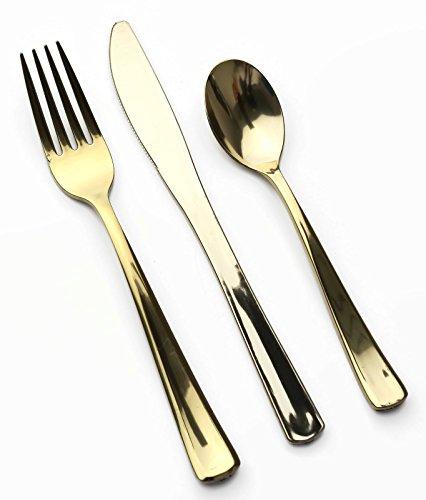MOZAIK 18 Piece Metallised Gold Plastic Cutlery Pack (6 Forks, 6 Knives, 6 Dessert Spoons)