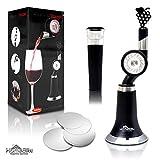 Aeratore e Decanter Vino - Tecnologia DropStop/Tappi Inclusi - Versatore con Beccuccio - Con Ruota - Ideale per vini bianchi e rossi - Libera aromi - Regalo per Appassionati di Vino