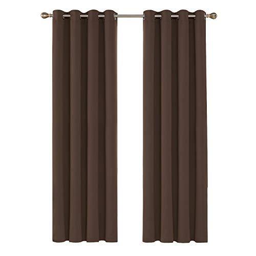 Deconovo Tende Oscuranti Termiche Isolanti Tende da Sole con Occhielli per Casa Moderne 140X290 CM Marrone 2 Pannelli