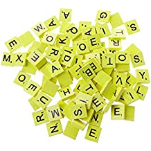 Alfabeto de madera Scrabble Azulejos del cuadrado del alfabeto de letras mayúsculas con números para la