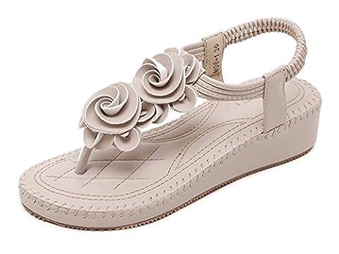 Minetom Sommer Damen Elegante Beiläufig T-Gurt Blume Flache Hefterzufuhr Flats Thong Strand Sandalen Aprikose EU 38
