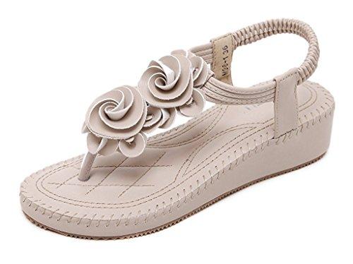 Minetom Sommer Damen Elegante Beiläufig T-Gurt Blume Flache Hefterzufuhr Flats Thong Strand Sandalen Aprikose EU 40 (Perlen Gladiator Sandal)