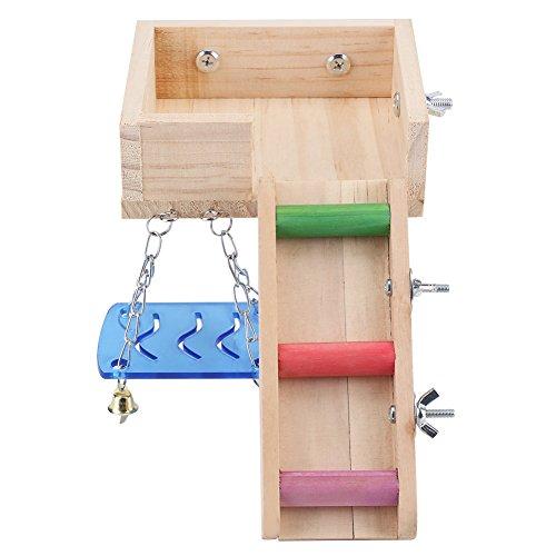 Fdit Plataforma de Madera Columpio Hámster para Mascotas y Juego de Escaleras Escalera de Ratón Ardilla Loft Kit de Arrastre de Pequeños Animales(Color)