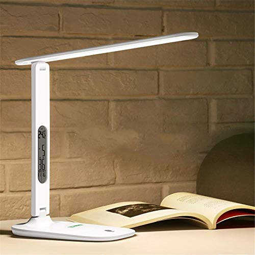 LED table lamp USB interface rechargeable bedroom bedside lamp office reading lighting night light folding reading light + charging Alarm Control Interface