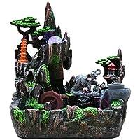 Fuentes de mesa decoración casera creativa de escritorio Cascada Fuente de simulación de resina de rocalla cascada que fluye estatua Fuente de agua Adornos de escritorio (Color: elefante, tamaño: con