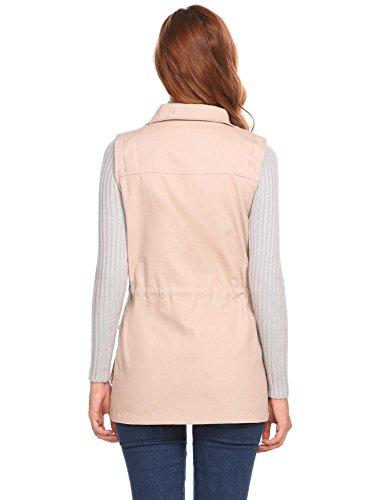 Damen Weste Jacke Outdoor Funktionswesten Stehkragen mit Vier Taschen Schwarz Grün Khaki