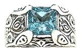 Sterlingsilber Authentisch blauer Topas Solitaire Herren Herren Ring Größen M bis Z + 5 - Blau