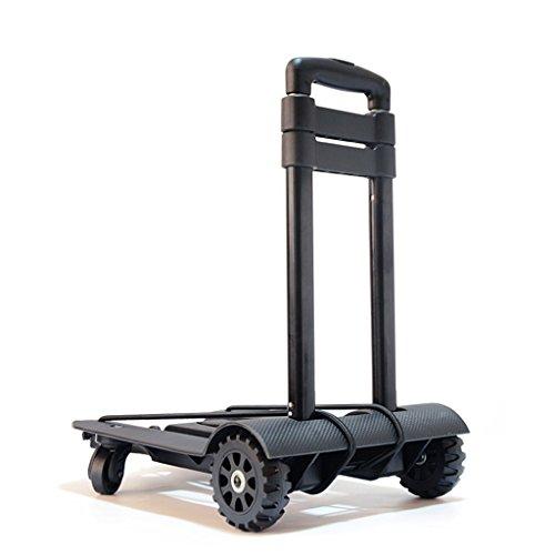 YONG FEI Faltbare Gepäckwagen Handwagen Einkaufswagen Kaufen Sie einen kleinen Zugwagen Vierrad-Caster Ältere Aluminium tragbare Trolley Hand-LKW (Farbe : SCHWARZ)