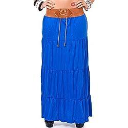 24brands Damen Sommer Maxirock in One Size - 1297, Größe:34 /36/ 38;Farbe:Kobaltblau