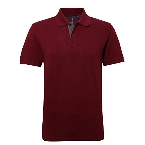 Asquith & Fox Herren Asquith and Fox Men's Classic Fit Contrast Polo Poloshirt, Mehrfarbig (Burgundy/Charcoal 000), X-Large -