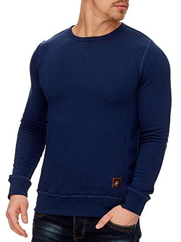 TAZZIO Herren Rundhals Sweatshirt Pullover Hoodie 16211 Navyblau