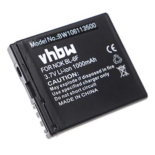 vhbw Akku passend für Nokia N95 8GB, N78, N79 Handy Smartphone Telefon ersetzt Nokia BL-6F (1000mAh, 3.7V, Li-Ion) N78 Smartphone