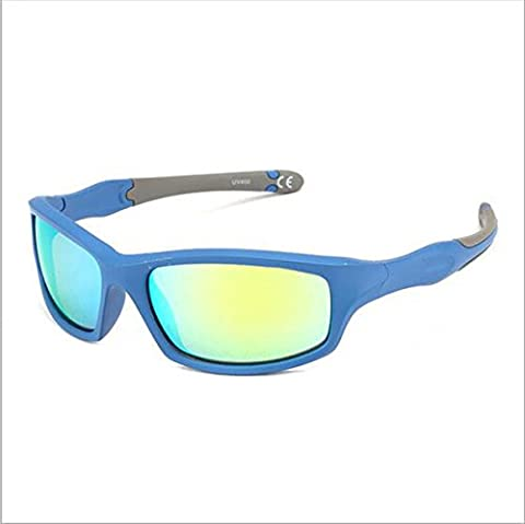 Sport Style de lunettes de soleil lunettes polarisantes conducteur avec cadre Incassable Incassable anti-rayures pour enfant (garçon et fille) Course à pied Cyclisme Conduite Pêche Randonnée Golf ( Color : Blue+grey )
