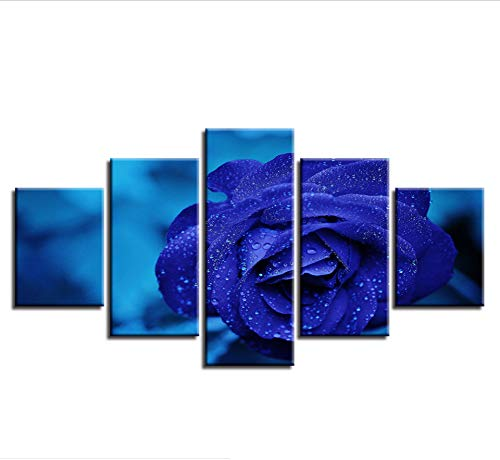 zmnba Kein Rahmen Hd Prints Pictures Wall Art 5 Pieces Blue Roses Flowers Modular Paintings Canvas Artworks Modernwork Decor for Living Room