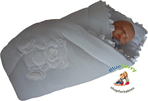 BlueberryShop Bestickte Jersey Wickeldecke Decke Schlafsack für Neugeborene, Geschenk für Baby 100% Baumwolle, 0-4M ( 0-3m ) ( 78 x 78 cm ) Weiß