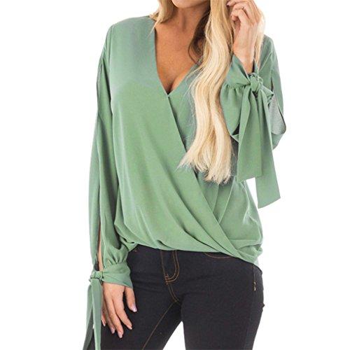 Blase Saum Bluse (Lady lose große Größe V-Ausschnitt lose Shirt JYJM Frau V-Ausschnitt Chiffon Langarm Bogen Shirt Bluse Frauen Tops V-Ausschnitt Shirt Chiffon Bowknot Top Bluse T-Shirt (XL, Grün))