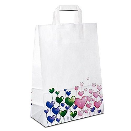 100 x Papiertüten weiss, Motiv: Herzen 26+12x35 cm | stabile Papiertaschen | Papiertragetaschen Flachhenkel | Kraftpapiertüten Mittel |Taschen |HUTNER