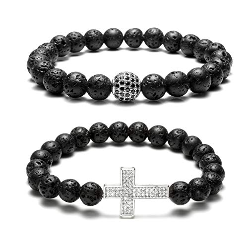 CrystalTears 2X Herren Perlenarmabnd 8mm Rock Lavastein Armband mit Zirkon Kugel + Kreuz Buddha-Armband Patnerarmbänder Energiearmband Stretcharmband 17cm -
