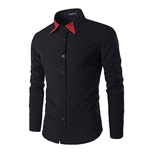 Men's Patchwork Collar Slim Fit Casual Social Shirts Black