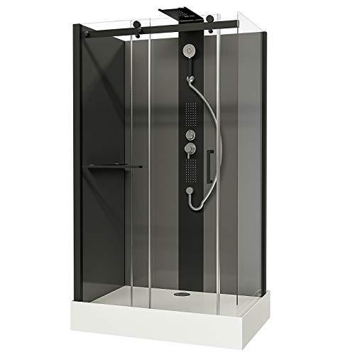 Schulte EP581123 Wellnesskabine Korsika, 120 x 80 cm, 6 mm Sicherheits-Glas klar hell, Profile schwarz, Rückwände grau, Duschwanne weiß