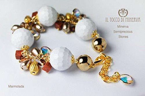 Steine Armband Und Kristalle (Bunten Steinen und Swarovski-Armband Marmolada Handgefertigt Made in Italy- handgefertigt - handgemacht - Mädchen Geschenk Mädchen - Geschenke für sie - Weihnachten)